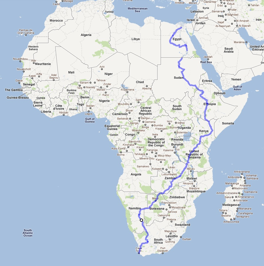 Cycle Across Africa Map