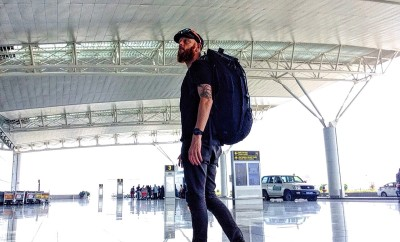 Solo traveller in the airport